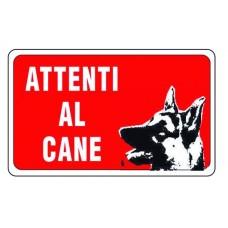 CARTELLO SEGNALE DI PLASTICA ATTENTI AL CANE MM.300X200