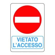 CARTELLO SEGNALE DI PLASTICA VIETATO L'ACCESSO MM.300X200