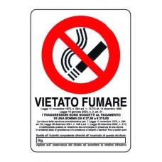 CARTELLO SEGNALE DI PLASTICA VIETATO FUMARE MM.300X200