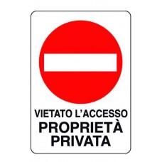 CARTELLO SEGNALE DI PLASTICA VIET.ACC.PROPR.PRIV. MM.300X200