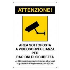 CARTELLO SEGNALE DI PLASTICA VIDEOSORVEGLIANZA MM.300X200