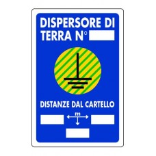 CARTELLO SEGNALE DI PLASTICA DISPERSORE DI TERRA MM.300X200