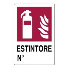 CARTELLO SEGNALE DI PLASTICA ESTINTORE MM.300X200